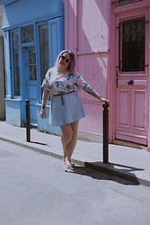 Katia - Lazy Kat - New Look Denim Skater Skirt, Sway Chic Unicorn Top, Quay Eyeware Bat Sunglasses - Rue Sainte-Marthe