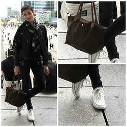 Rana Laing - Converse Low Top, Leather Jacket, Longchamp - She Said If You Dare Come A Little Closer