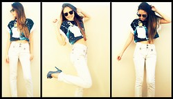 Rafaela Bicas - Colcci Jeans, Gangnam Style Top Cropped, Ray Ban Clubmaster, Blue Shoes - Oppan Gangnam Style!
