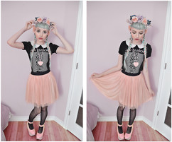Jillian Vessey - Self Made Large Rose Floral Crown, Joy Division Band Tee, Ardene Pastel Pink Tulle Skirt, Bodyline Bubblegum Pink Rocking Horse Shoes, Ardene Black Lace Tights (Zig Zag Stripes), Nerdy Little Secrets Twin Stars Pastel Pink Resin Heart Necklace, Ebay Heart Shaped 1/2in Tunnels, Monteau White Collared Black Dress - Pastel Veins and Unknown Pleasures