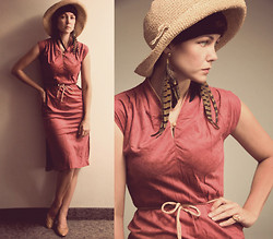 Emilie Martin - Inpasttimes Vintage Dress, Handmade By Me Pheasant Feather Earrings, Inpasttimes Vintage Nude Pumps - A long time