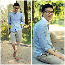 C. L. - Oak Striped Shirt, Forever 21 Khaki Shorts, Oliver Spencer Boat Shoes - Two-tone