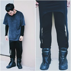 Karl Philip Leuterio - Rick Owens Sneakers, Zara Biker Pants, Gold Dot Skirt Pants, Cheap Monday Decay Shirt - Doubles