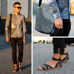 Justin Leigh - Gucci Sunglasses, Asos Shirt, Louis Vuitton Damier Messenger Bag, Diesel Pants, Zara Leather Sandals - Greyscale