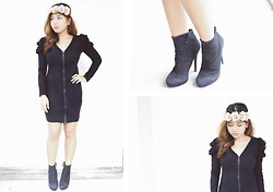 Fhenny Z - Zipper Dress, Dorothy Perkins Flower Headband, Zara Black Boots - Take my hand, close your eyes