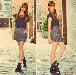 Vicky W - Monki Shirt, Urban Outfitters Skirt, Asos Belt - I wish I was a punkrocker with flowers in my hair