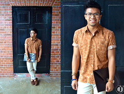 Joamar-John Canosa - Mingalazi Top, Ralph Lauren Pants, Chatuchak Manvelope, Tam Awan Bracelet, Prada Eye Wear, Vera Shoes - Mr.Brown.