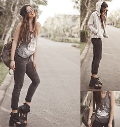 Elle-May Leckenby - Open Top Cut Out Boots, Rustic Black Jeans, Ship Tank, Beige Hooded Jacket - Sail