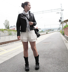 Erika Berglund - The Urban Project Boots, H&M Skirt, Jsfn Leather Jacket, Avanna Top - Walk the line