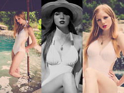 Lea L. - Straw Sunhat, Vintage Necklace, Swoon Boutique White Side Cut One Piece - Classic Swimwear
