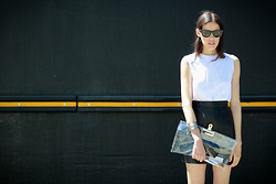Melissa Araujo - Melissa Araujo X Mesh Dress, American Apparel Leather Shirt, Diy Clutch - Minimal