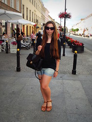 Talia Florence - Ralph Lauren Shorts, Marco Valentino Vintage Leather Satchel, Zara Batwing Top, Mango Sunglasses, Aldo Tan Sandals, Topshop Feather Earrings - Take a good girl...