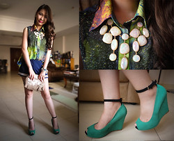 Kim Anne C - Chicnova Chiffon Galaxy Top, Mango Gold Clutch, H&M Necklace, Zara Green Wedges - Cosmic Dust