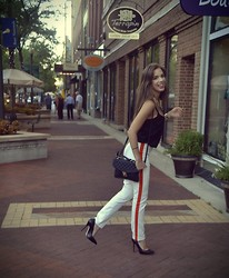 Ashley Polanco Issa - Asos Quilted Black Bag, Asos Cami, Forever 21 Side Stripe Pant, Michael Kors Pointed Pumps - MJ inspired
