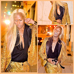 LEE Greatness - Custom Made By Lindsey Butler Gold Sequin Blazer, Custom Made By Lindsey Butler Gold Sequin Shorts, Online Purchase Knuckle Ring Clutch, H&M Cuff, Hugo Boss Dress Shirt - #BirthdayEnsemble: GOOD AS GOLD!