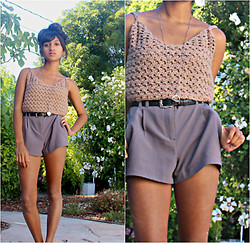 Sneha Bee - Handmade Crocheted Top, Forever 21 Grey Suit Shorts, Urban Outfitters Silver Spin Necklace - Tones for two