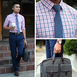 Justin Leigh - Express Shirt, Club Monaco Chambray Tie, Linea Pelle Bag, Kenneth Cole Loafers - Meeting Minutes