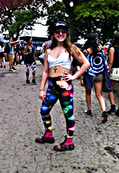Morgan Zakarin - Azealia Banks Merch Luxury Hat, Nasty Gal Evil Eye Ankh Necklace, Black Milk Clothing Rainbow Jellyfish Leggings, Dr. Martens Pink, Topshop Pink Round Sunglasses, Nasty Gal White Cross Top - Governors Ball NYC 2013