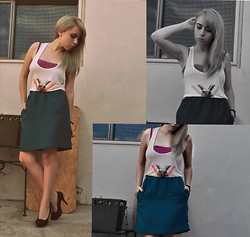 Astrid Baudelaire - Forever 21 Blue Skirt, Pac N Sun Eagle Shirt - The eagle