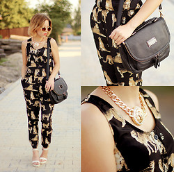 Wioletta Mary Kate - Sheinside Jumpsuit, Romwe Bag, Fashuun Village Necklace, Chicnova Shoes - Leopard Jumpsuit