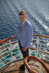Oliver Lips - Caruso Blazer, Bruuns Bazaar Tie, Oscar Jacobson Pants, Bally Mocassins - On a ship