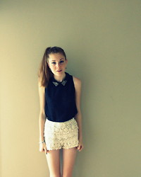 Laurielle Haze - Cheap Store Studded Collar Lace Top, Zara Crochet Shorts - Blurred Lines ▲