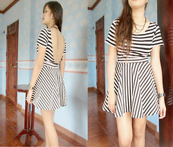 Ella Sunga - Cheap Monday Stripe Top, Hot Topic Stripe Skater Skirt, Chain Necklace - Sweetest escape