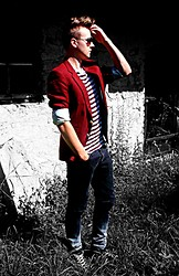 Maciuś C - Asos Stripe T Shirt, Asos Dip Dye Jeans, C&A Angelo Litrico Blazer, Asos Trainers In Suede - Burgundy