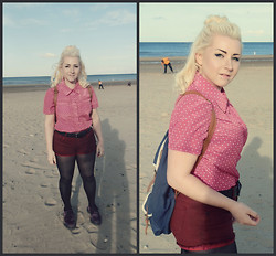 Leigh Freda - Vintage Pink Spotted Blouse, H&M Red Denim Shorts, Dr. Martens Purple Suede Boots, Primark Blue And Brown Backpack - Pink Passion
