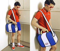 KIKO CAGAYAT - Jumpfrompaper Sober Bag, Lacoste Polo Shirt, Vans Red Low Cut Sneakers - Cartoon Network