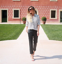 Adenorah M - Olive Clothing Bouse, Olive Clothing Pants, Choies Sandals - Adenorah - stripes + leather