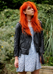 Heather C - Asos Leather Jacket, H&M Paisley Dress, N/A Leather Choker - I dreamt about you nearly every night this week