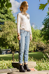Monica J - Topshop Shoes, New Look Boyfriend Jeans, Nasty Gal Guipure Blouse, Selfridges Earings - British park side