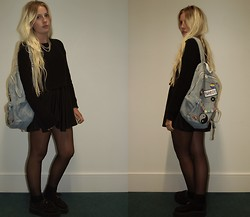 Nicola Boraston - American Apparel Denim Backpack, American Apparel Skater Dress, Topshop Cropped Jumper - Patched up