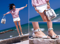 WOWS . - Amy Gee Pink Top, Joaquim Ferrer Snake Skin Embossed Sandals: Khloe Model, Joaquim Ferrer Phyton Embossed Leather Bag: Katrina Model, Guess? Watch. Model W0128l13 - WHITE PRETTY SANDALS & SKORTS