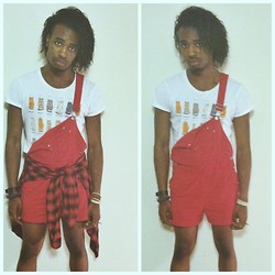 Corey Randle - Urban Outfitters Cat Tshirt, Thrifted Red Overalls, American Eagle Plaid Button Up - Overalls and cats