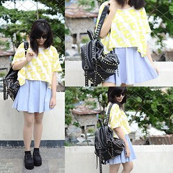 Marion Uy - Chic Wish Bart Simpson Loose Top, Chic Wish Creepers, The Editors Market Studded Bagpack, Giantvintage Sunglasses - Mainstream Simpson