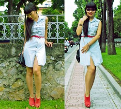 Thuy Bee - Love Denim Shirt Dress, Frida Wedges - Come rain or come shine