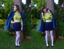 Jackie B - Lisa Ho Green Silk Blouse, Mystique Blue Coat, Kmart Navy Skirt - She killed it with kisses and from it she fled
