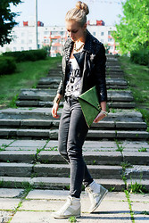 Anastasia Roshchenya - Asos Leather Jacket, Sisley Top, Asos Sneakers, Asos Bag - Dawn Of A Dark Day