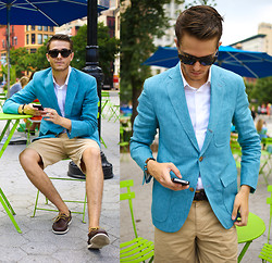 Adam Gallagher - Light Blue Color Here  > Linen Blazer, Khaki Shorts, Belt, Similar Here  > Sunnies, Sperry's - Aquamarine