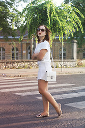 Becca S. - Random White Cotton T Shirt, H&M Bag, Ana Lublin Leopard Loafers - Always dressed in white