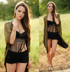 Jessica R. - Fredericks Of Hollywood Fringe Babydoll, Stylegodis Gold Cardi - Fringed