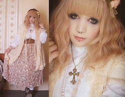 Chrysalis Batlace - Vintage Peignoir, Vintage White Blouse, Vintage Roses Skirt, Ebay Cross Necklace, Ebay Brown Beret - Antique Doll