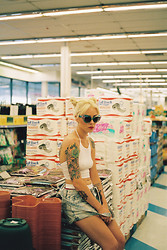 Alysha Nett - Unif Moodys, Motel Rocks Halter, American Apparel Unisex Boy's Underwear, Some Store On Melrose Overalls - 99 cent look