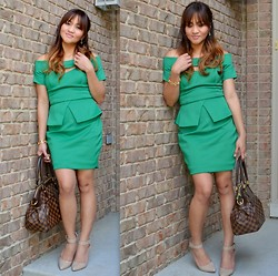 Aprelle K - Arden B Peplum Dress, Style &Co Strappy Heels - Emerald