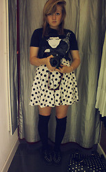 Izzy McLeod - Circlet, Amazon The Cure T Shirt, H&M Spotty Skirt, Topshop Black Knee High Socks, Bronx Spiked Creepers, Primark Spotty Bag - Time is a Funny Thing