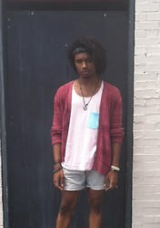 Corey Randle - American Apparel Tank Top, H&M Grey Shorts, Pacsun Red Cardigan - When the smoke clears