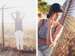 Bethany Struble - Free People White Jeans - Sporty Stripes