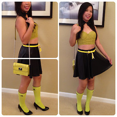 Judith A - Bow Tie Ribbon, Forever 21 Lime Green Cropped Top, Macy's Yellow Belt, Forever 21 Faux Leather Skirt, Milly Lime Green Ostrich Skin, Adidas Neon Green High Socks, Material Girl Black Pumpls - OH GIRLS!  JUST WANNA HAVE FUN!